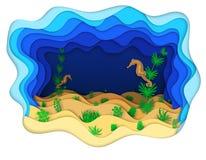 Illustratie die van seahorse op algen rusten Royalty-vrije Stock Foto's
