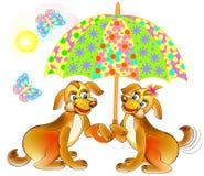 Illustratie die van twee leuke honden paraplu houden vector illustratie