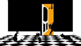 Illustratie die van verscheidene katten binnen spelen stock illustratie