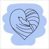 Illustratie die van vogelsmoeder en kind hart-als vormen shap Royalty-vrije Stock Afbeelding