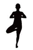 Illustratie die van vrouw yogaoefening doet stock fotografie