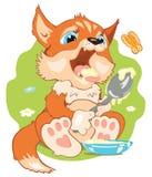 Illustratie een kleine vos die havermoutpap eten Stock Afbeelding