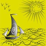 Illustratie een schip en de wereld van financiën Stock Afbeelding