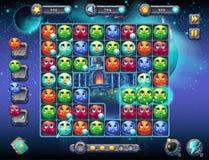 Illustratie fabelachtige ruimte met het beeld van het spelscherm met de interface van het spel speelgebied met pretplaneten als w Stock Afbeeldingen