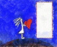 Illustratie, frame met meisje Royalty-vrije Stock Afbeelding