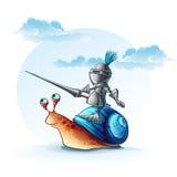 Illustratie grappige ridder op het slakkehuis Royalty-vrije Stock Afbeelding