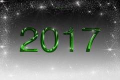 Illustratie 2017 in groene kleur op zwart-witte achtergrond met fonkelende sterren stock foto