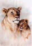 illustratie, het mooie luchtpenseel schilderen van een houdende van leeuwmoeder en haar baby royalty-vrije illustratie