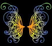 Illustratie Iriserende vleugels van een vlinder op een zwarte backgro Stock Afbeeldingen