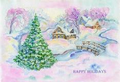 Illustratie, kunst, tekening, waterverf, dorp, huizen, rivier, brug, de winter, Kerstboom, roze, achtergrond, nieuw jaar, sneeuw, vector illustratie