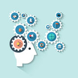 Illustratie menselijk hoofd met toestellen Creatief het denken bedrijfsstrategieproces stock illustratie