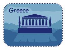 Illustratie met akropolis van Athene in Griekenland vector illustratie