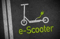 Illustratie met asfalt en e-autoped royalty-vrije stock foto