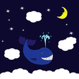 Illustratie met blauwe vliegende walvis Stock Foto