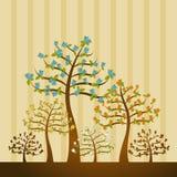 Illustratie met bomen, vector vector illustratie