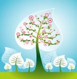 Illustratie met bomen, vector royalty-vrije illustratie