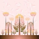 Illustratie met bomen, vector Royalty-vrije Stock Fotografie