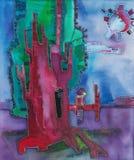 Illustratie met boom en vogel op tak, abstract beeld Stock Afbeeldingen