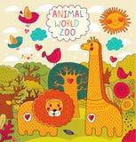 Illustratie met dieren Royalty-vrije Stock Afbeelding