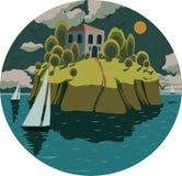 illustratie met een eiland onder de oceaan, sterren, jachten Stock Fotografie