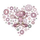 Illustratie met een gelukkige robot Royalty-vrije Stock Afbeeldingen