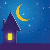 Illustratie met een huis in de nacht Royalty-vrije Stock Foto