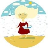 Illustratie met een klein gelooid blonde op het strand Stock Foto's