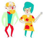 Illustratie met een oma, grootmoeder in gele glazen en een kleding vector illustratie