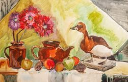 Illustratie met een theepot, bloemen, vruchten en gevulde eend royalty-vrije illustratie