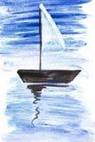 Illustratie met een zeilboot Stock Afbeeldingen