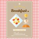 Illustratie met etiketten, goedemorgen met een ontbijt van gebraden Stock Afbeelding