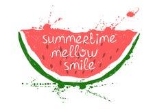 Illustratie met geïsoleerde rode plak van watermeloen Stock Fotografie