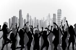 Illustratie met gelukkige dansende vrouwensilhouetten op stadsachtergrond royalty-vrije illustratie