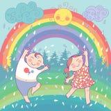 Illustratie met gelukkige kinderen, regenboog, regen, s Royalty-vrije Stock Foto
