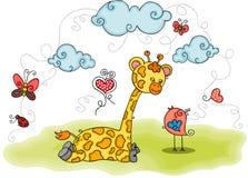 Illustratie met giraf en vogel royalty-vrije illustratie