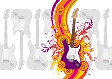 Illustratie met gitaar Royalty-vrije Stock Afbeelding