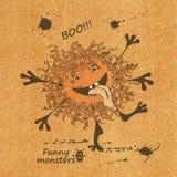 Illustratie met grappig monster Royalty-vrije Stock Foto's