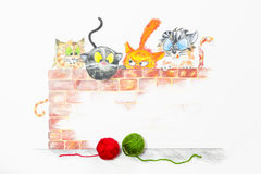 Illustratie met groep leuke katten en kleurrijke wolballen vector illustratie