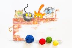 Illustratie met groep leuke katten en kleurrijke wolballen Stock Fotografie