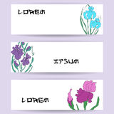 Illustratie met hand-trekkende illustratie, vectorized irissen Het gestileerde traditionele Chinese schilderen, Japanse kunst sum Stock Foto