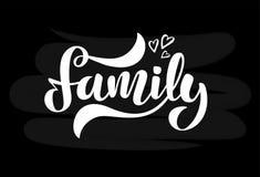 Illustratie met harten en met de hand geschreven uitdrukkingsfamilie stock illustratie