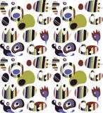 Illustratie met heldere abstracte symbolen en vormen, reeks abstracte tekens Stock Illustratie