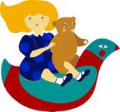 Illustratie met het mooie meisje berijden kinderen ` s ro Royalty-vrije Stock Afbeeldingen