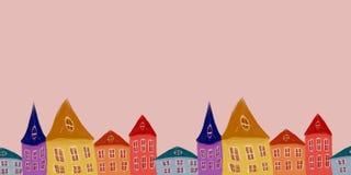 Illustratie met huizen royalty-vrije illustratie