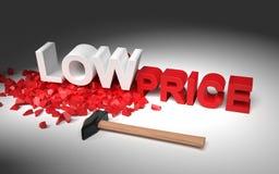 Illustratie met hummer en tekst lage prijs Stock Foto