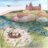 Illustratie met kasteel op het heuvel en vogelnest royalty-vrije illustratie