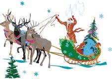 Illustratie met Kerstman Royalty-vrije Stock Afbeelding
