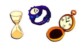 Illustratie met klokken op witte achtergrond wordt geïsoleerd die royalty-vrije illustratie