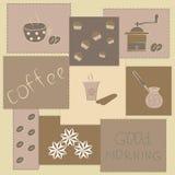 Illustratie met koffiegoederen Royalty-vrije Stock Afbeeldingen