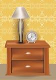 Illustratie met lamp en klok Royalty-vrije Stock Afbeelding